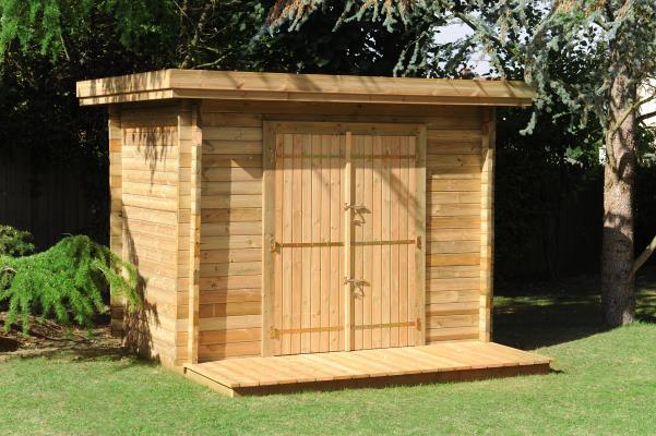 Abri de jardin en bois naturel avec terrasse et plancher