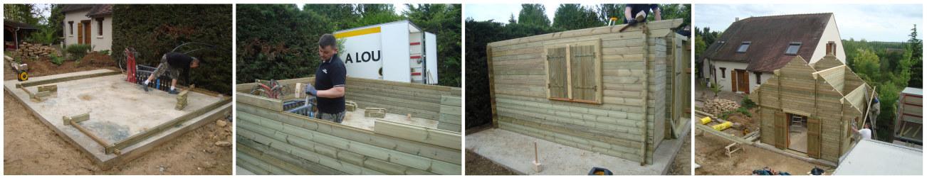 Abri de jardin en construction / installation en bois