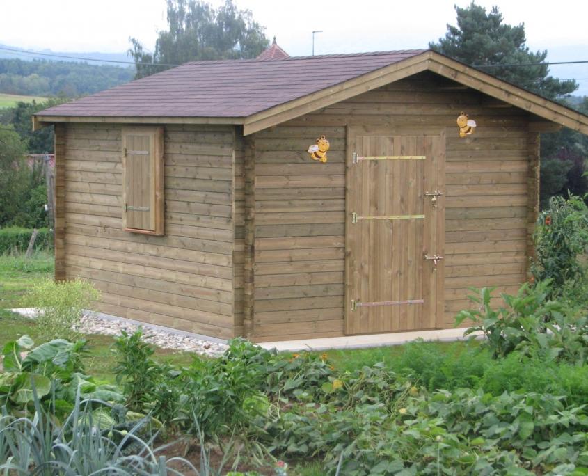Un abri de jardin Maisonelle avec toit et plancher