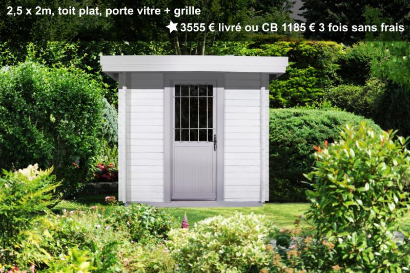 Prix petit abri de jardin blanc avec plancher et porte vitrée